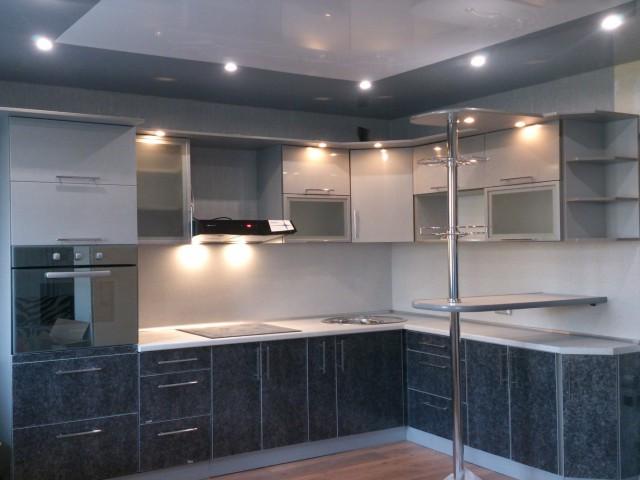Кухня угловая тёмно-синяя